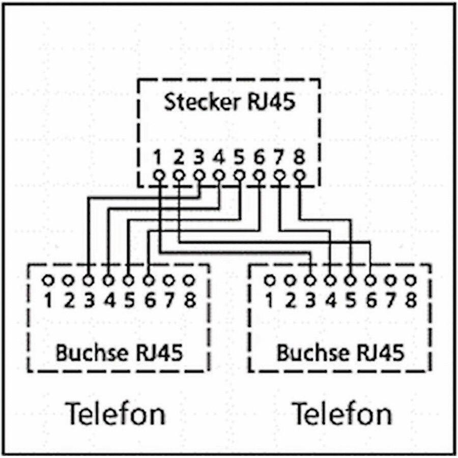 Kabel-Splitter (Y-Adapter) 1x RJ45 Stecker auf 2 x Buchse mit ISDN ...
