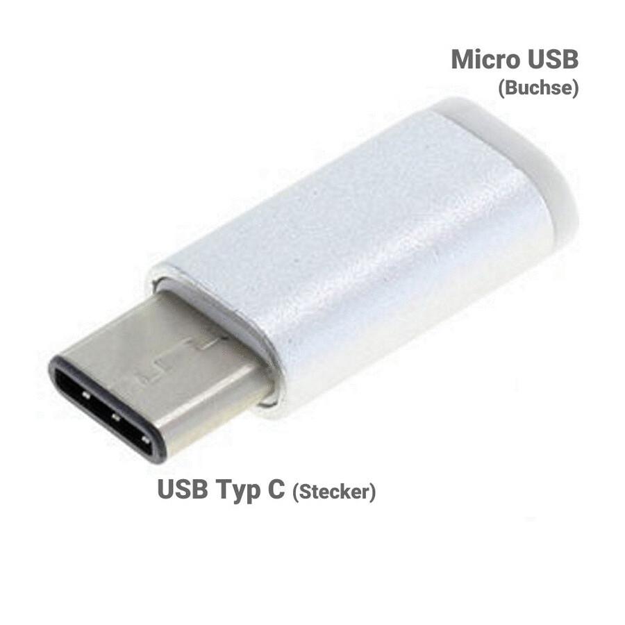 emmobi adapter von micro usb buchse auf typ c stecker farbe silver tablet bei handytreff. Black Bedroom Furniture Sets. Home Design Ideas