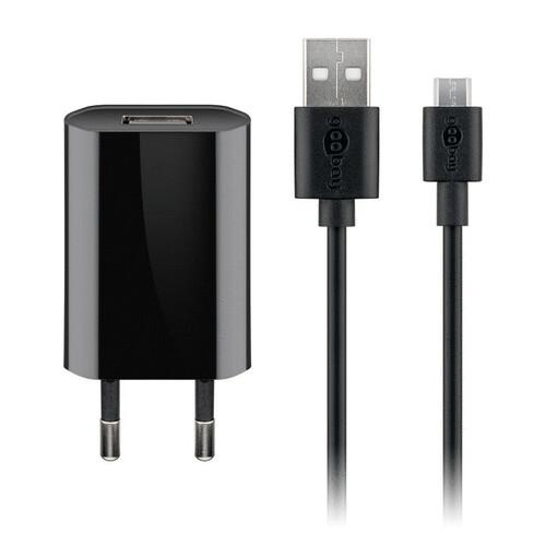 Ladegerät 230V SMALL für SAMSUNG SM T255 Galaxy W, 1A, Micro USB, BLACK, 2 teilig 2in1 Kombination USB Ladeadapter + Micro USB Ladekabel