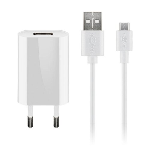 Ladegerät 230V SMALL für SAMSUNG SM J100 Galaxy J1, 1A, Micro USB, WHITE, 2 teilig 2in1 Kombination USB Ladeadapter + Micro USB Ladekabel
